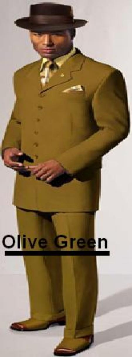 SKU# ZTV139 Mens Olive Green Fashion Vested Zoot Suit   $139