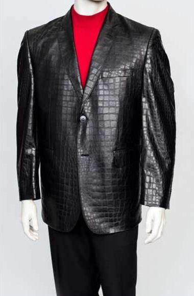 Zacchi Mens Black 2 Button Crocodile Print Mens Alligator Jacket Print Ostrich looking Leather Feel Print Blazer