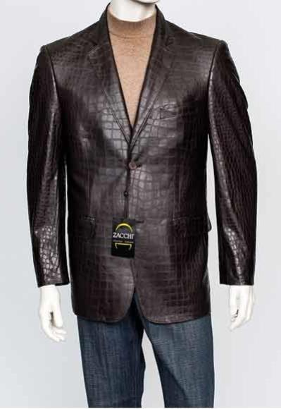 Zacchi Men's Italian Cut  Men's Alligator Jacket Print Genuine Leather Feel 2 Button 29881 Brown Crocodile Print Blazer Available in Big and Tall