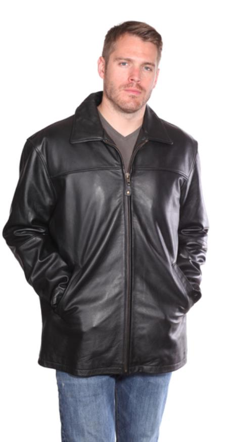 Zachary Leather Hipster Black Big and Tall Bomber Jacket