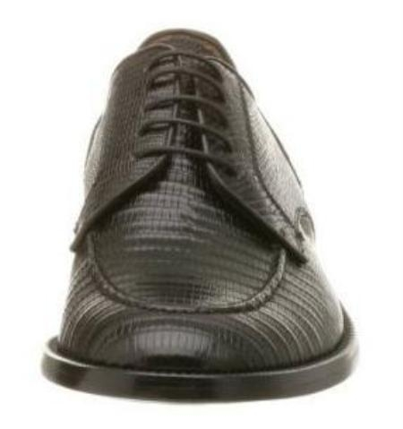 SKU# MBG853 Zelli - RIO - Mens Rio Moc Toe Lizard Oxford Zelli Shoes - Black lizard