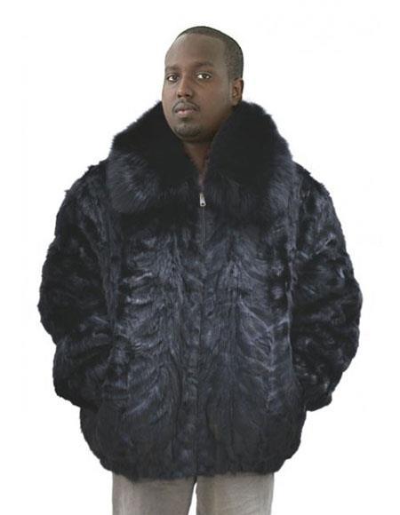 SKU#GD737 Mens Fur Genuine Mink Pull Up Zipper Black Fox Collar Jacket
