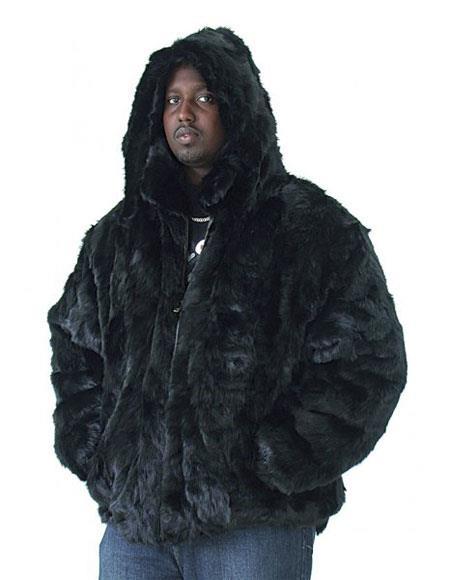 Mens Fur Genuine Mink Pull Up Zipper Black Jacket