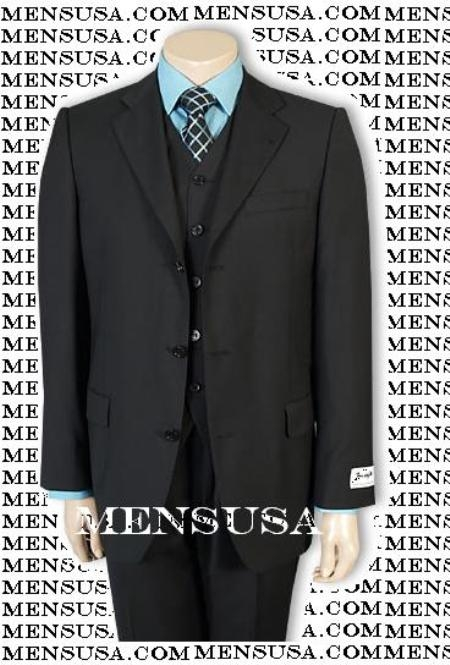 SKU# Ztlk Solid Black Vested 3 Pieces Super 150s Wool Vested 3 Pieace Light Weight Side Vent $325
