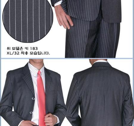 SKU# BWP265 BLack & White Pinstripe 3 Buttons year-round weight