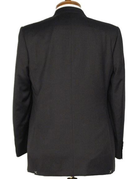 SKU#RA2911 3 Button Black Double Vented Super 120s Worsted Wool Suit $175