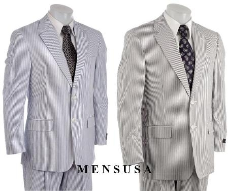 SKU AM30-31 Gray&White or Blue Stripe Seersucker Suit 100% Cotton 2 Button Plaint Front $159