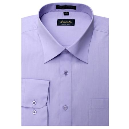 SKU#LV8692 Amanti Mens Lavender Wrinkle-free Dress Shirt $25