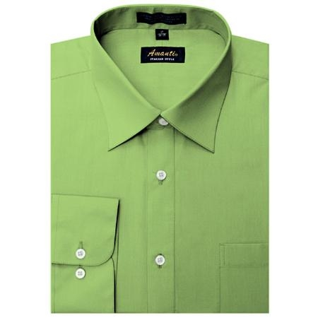 SKU#GR8920 Amanti Mens Wrinkle-free Apple Green Dress Shirt $25