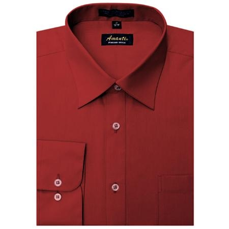 SKU#RD0956 Amanti Mens Wrinkle-free Apple Red Dress Shirt $25