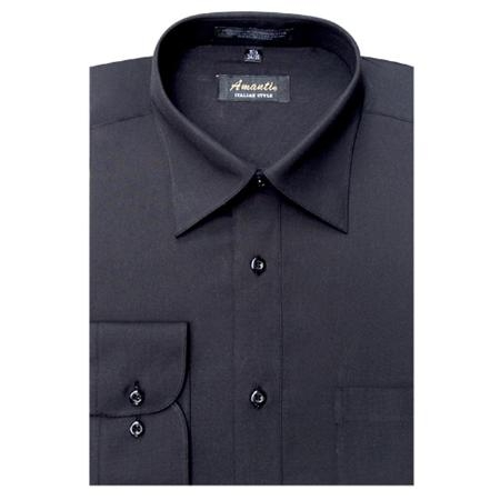 SKU#BK7745 Amanti Mens Wrinkle-free Black Dress Shirt $25