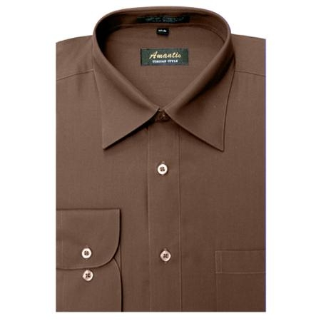 Mens Wrinkle-free Brown Dress