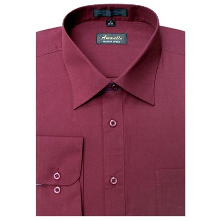 SKU#BU6595 Amanti Mens Wrinkle -free Burgundy ~ Maroon ~ Wine Color Dress Shirt $25