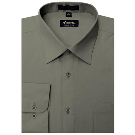 SKU#CH9985 Amanti Mens Wrinkle-free Charcoal Dress Shirt $25