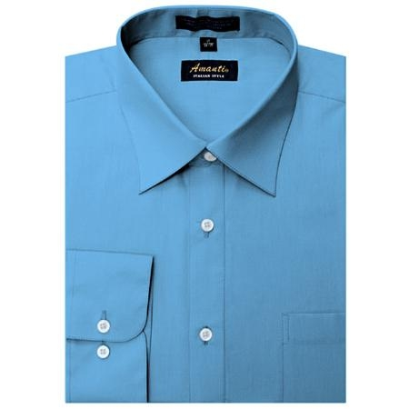 SKU#BL1888 Amanti Mens Wrinkle-free French Blue Dress Shirt $25