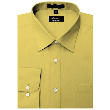 SKU#MT6668 Mens Wrinkle-free Mustard Dress Shirt $29