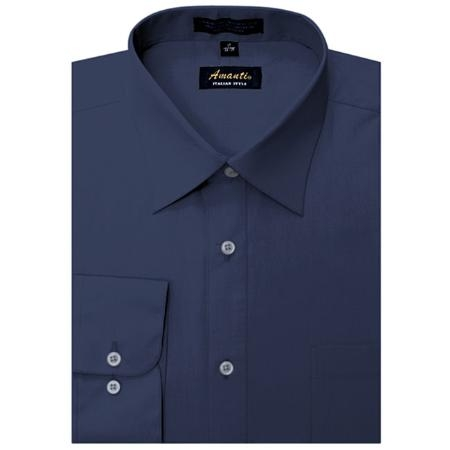 SKU#GF6985 Amanti Mens Wrinkle-free Navy Dress Shirt $25