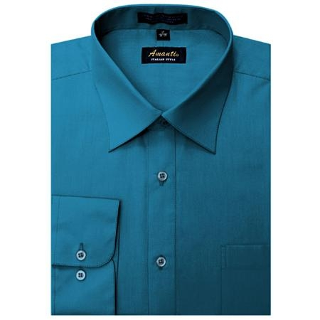SKU#DS7445 Amanti Mens Wrinkle-free Ocean Blue Dress Shirt $25