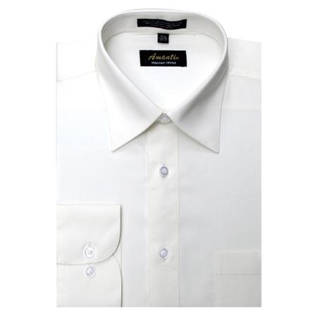 SKU#OW4499 Mens Wrinkle-free Off-white Dress Shirt $29