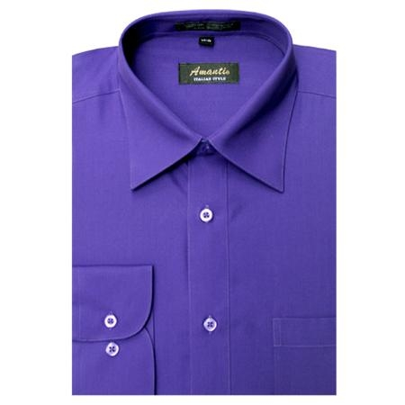 SKU#PR6859 Amanti Mens Wrinkle-free Purple Dress Shirt $25