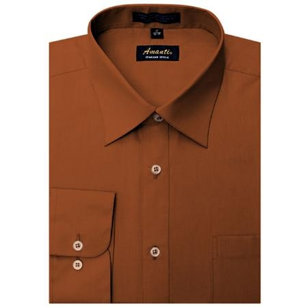SKU#RU4177 Mens Wrinkle-free Rust Dress Shirt $29