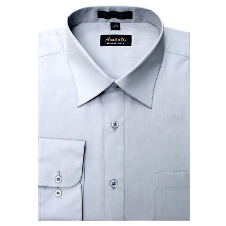 SKU#SF9632 Mens Wrinkle-free Silver Dress Shirt $29