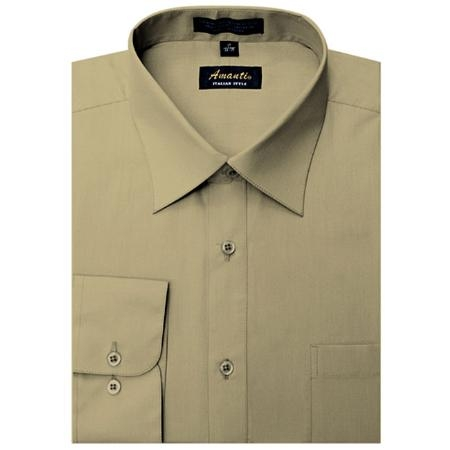 SKU#TN5665 Amanti Mens Wrinkle-free Tan Dress Shirt $25