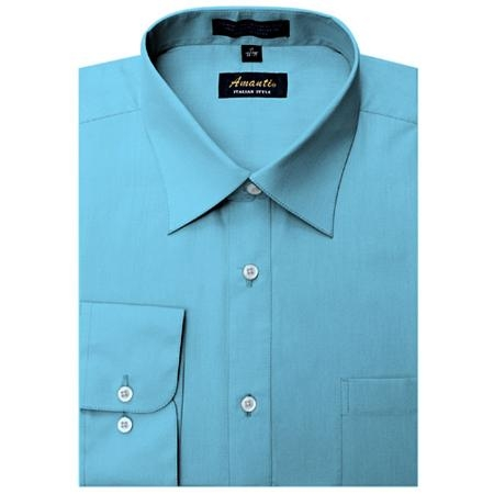 SKU#TR3339 Amanti Mens Wrinkle-free Turquoise Dress Shirt $25