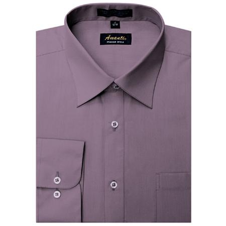 SKU#VL0449 Amanti Mens Wrinkle-free Violet Dress Shirt $25
