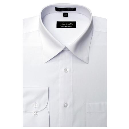 SKU#WH5586 Amanti Mens Wrinkle-free White Dress Shirt $25