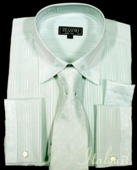 SKU#WN5657 Aqua Shirt Tie and Hankie Set $65