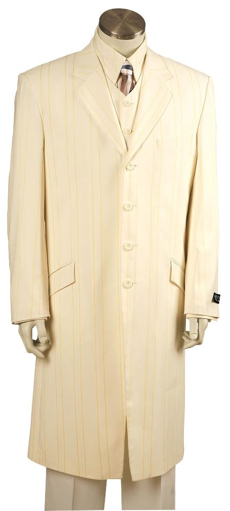 SKU#BG8173 Beautiful Mens Ivory Lime Pinstripe Gangester Zoot Suit Ivory $250