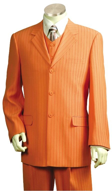SKU#EK8170 Beautiful Mens Orange Pinstripe Gangester Zoot Suit Orange $175
