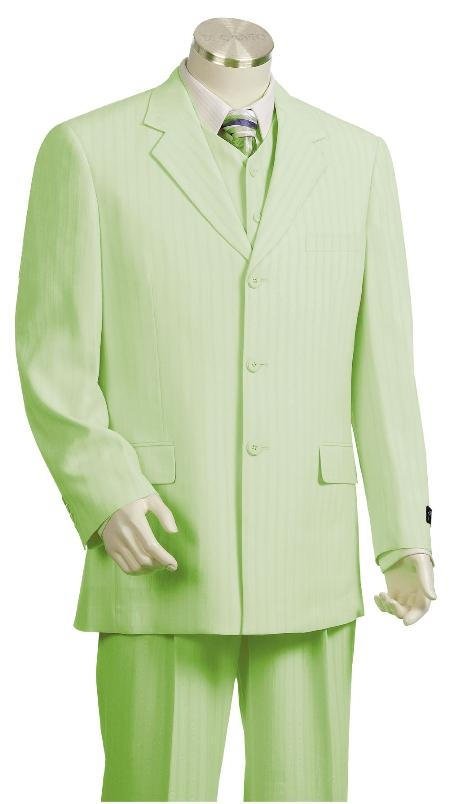 SKU#CY8170 Beautiful Mens Seage Pinstripe Gangester Zoot Suit Seage $175