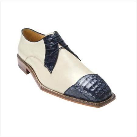 SKU#YP2077 Belvedere Mens Fano Oxford in Navy / Cream $217