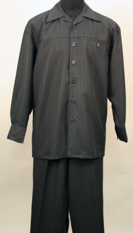 SKU#MR3566 Black 2 Pc Long Sleeve Shirt And Pants Set $115