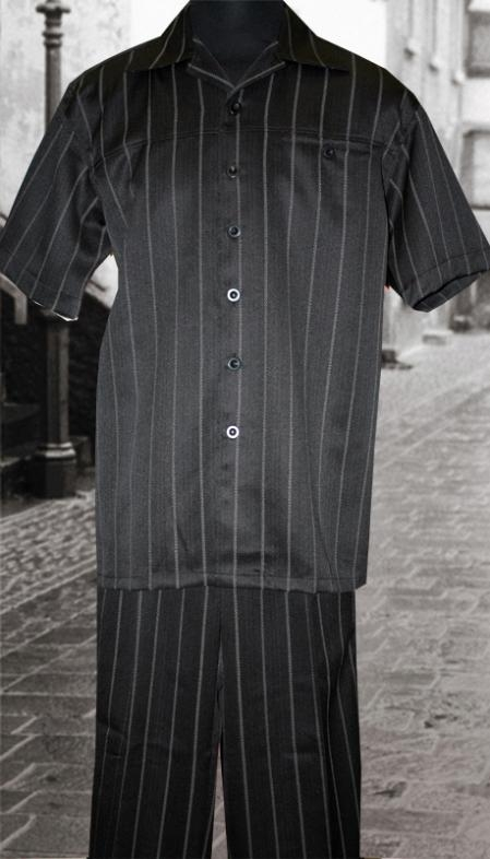 SKU#ML2947 Black 2 Pc Shirt and Pants Set $99