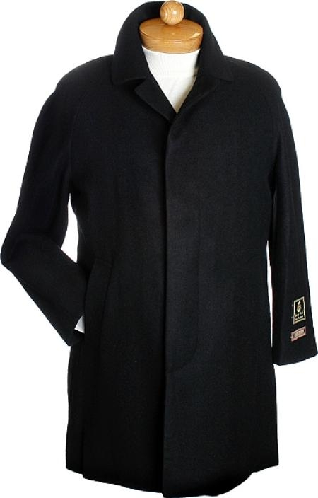 SKU#TX2311 Black 3 Quarter Mens Wool Jacket $249