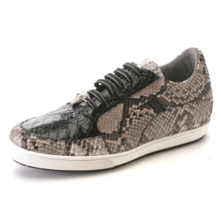 SKU#BA3882 Black Genuine Croc & Python Sneakers $275