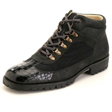 SKU#XG3322 Black Genuine Crocodile Boots $235