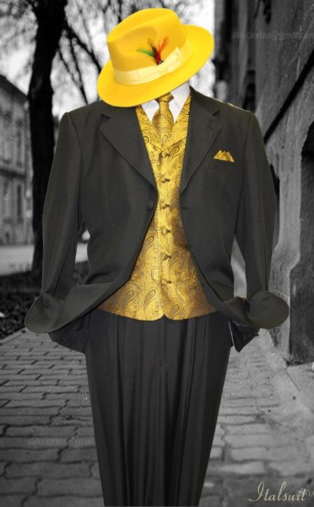 SKU#WM8111 Black-Gold 3pc Fashion Zoot Suit $210