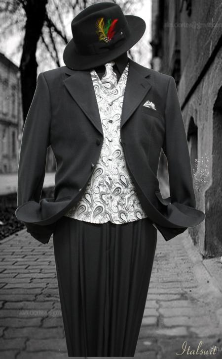 SKU#MK1991 Black-Gray 3pc Fashion Zoot Suit $210