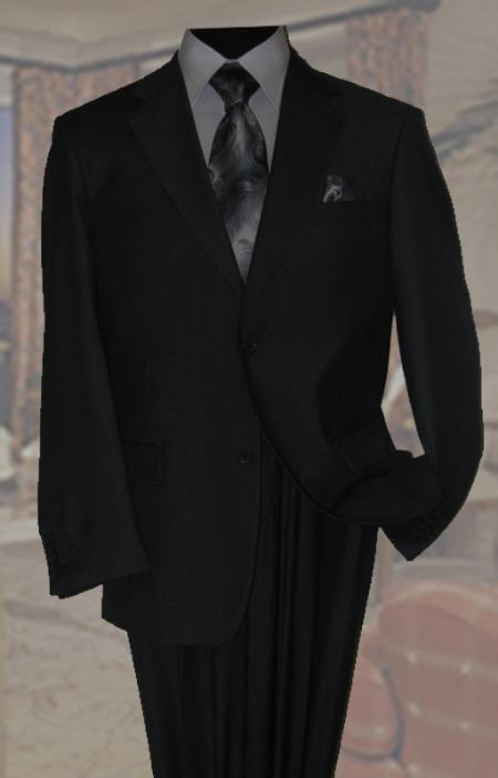 SKU#QT9422 Black Mens Wool Suit 2 Button 2pc Super 150s With Hand Pick Stitching on Lapel