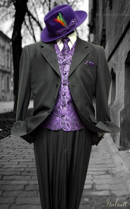 SKU#QB9021 Black-Purple 3pc Fashion Zoot Suit $210
