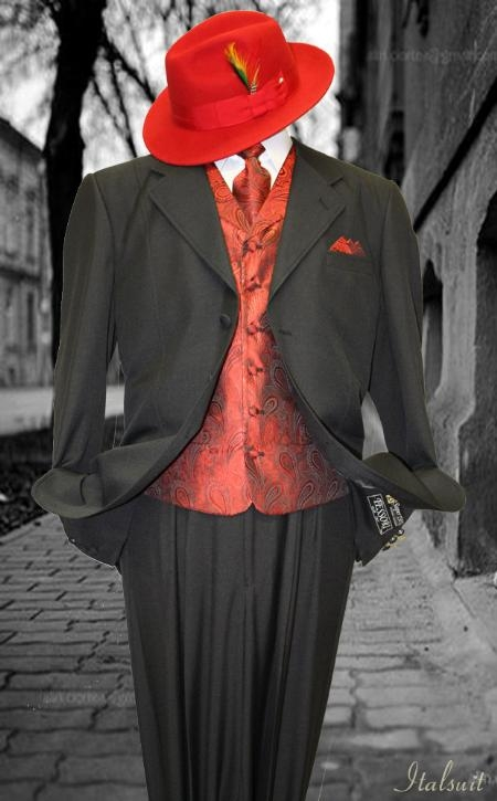 SKU#QL2999 Black-Red 3pc Fashion Zoot Suit $210