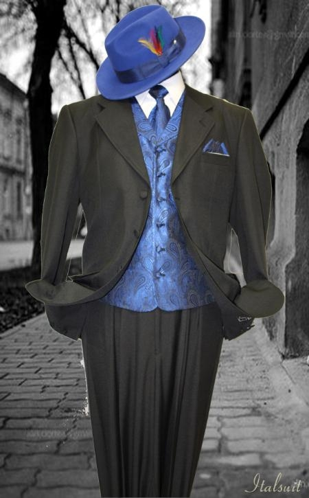 SKU#EM8991 Black-Royal 3pc Fashion Zoot Suit $210