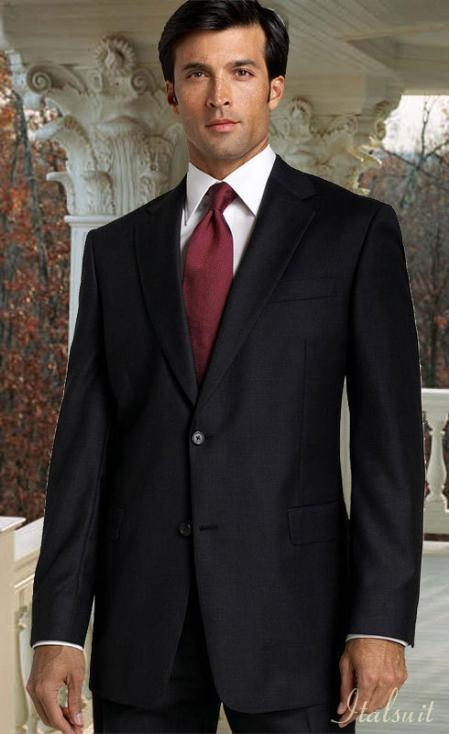 MensUSA.com Black Shark Skin 2pc 2 Btn Suit Classic Relax Fit Pleated Pants 19 Inch Bottom(Exchange only policy) at Sears.com
