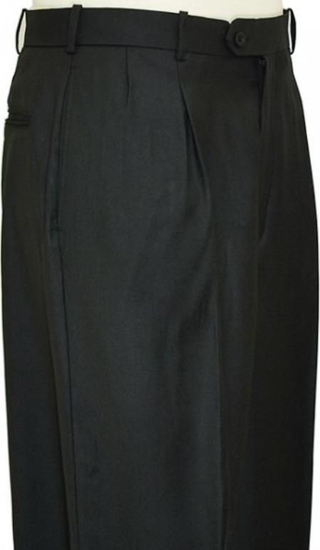 SKU#WQ9221 Black Shark Skin Wide Leg Slacks Pleated baggy dress trousers $59