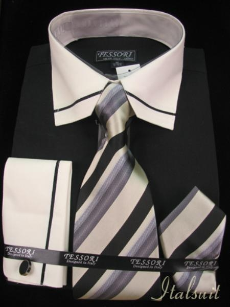 SKU#PX7911 Black Shirt Tie and Hankie $65