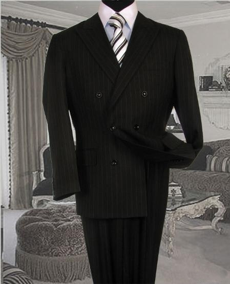 SKU#GC3434 Black Suit With Smooth Stripe ~ Pinstripe Full Canvanced Poly~Rayon Wool Feel Pleated Pants